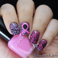 Breast Cancer Awareness '13 Nails #nails #zoya #breastcancernails #pinkribbon #pink