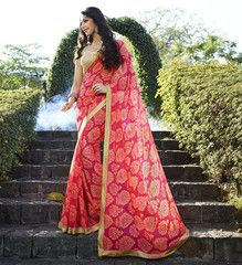 Pink Color Georgette Kitty Party Sarees : Chandani Collection  YF-41404