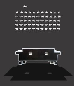 Do you love space invader couch? Well, you can purchase the real one, it's called Retro Alien Couch. Igor Chak, the designer, has brought the cool couch concept Classic Video Games, Retro Video Games, Video Game Art, Custom Furniture, Furniture Design, Cool Couches, Couch Design, Pop Culture Art, School Videos