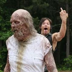 Norman Reedus With The Middle Finger Salute!