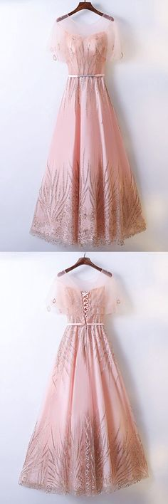 Blush pink tulle scoop neck long beaded formal prom dress with sleeve #promdress #eveningdresses #dress #prom