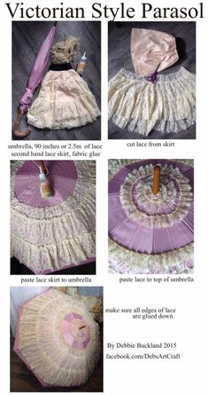 Simple Victorian S… Simple Victorian Style Parasol tutorial… Victorian Steampunk, Steampunk Diy, Steampunk Fashion, Victorian Fashion, Diy Victorian Clothes, Gothic, Sewing Tutorials, Sewing Projects, Sewing Patterns