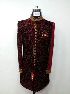To order this whatsapp us on Sherwani Groom, Mens Sherwani, Wedding Sherwani, Bane Jacket, Indian Men Fashion, Royal Fashion, Mens Fashion, Indian Groom Dress, Wedding Dress Men