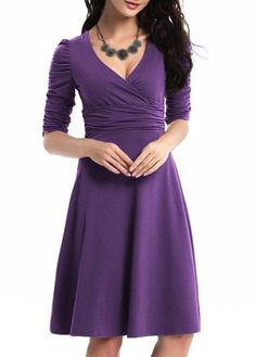 Purple 3/4 Sleeve V Neck High Waist Fit and Flare Dress