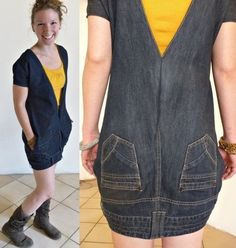 È quanto meno curioso questo mini vestitino realizzato con dei vecchi jeans. Non ho trovato il tutorial, ma credo, correggetemi se sbaglio, che abbia semplicemente tagliato i gambali, rifinendoli, ...
