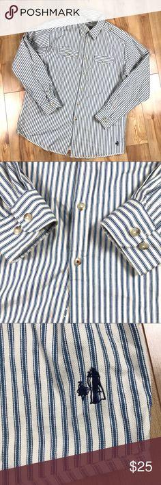 8ff8ec69cfa0b J Peterman Men s L Hickory Striped Epaulette Shirt Coming soon J Peterman  Shirts Casual Button Down Shirts