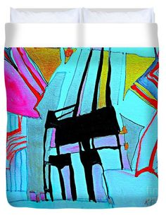 Duvet Cover featuring the painting Abstract-28 by Katerina Stamatelos