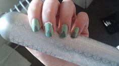 Peek-a-boo patch! CND Vinylux. Check out my nail art blog! http://nailcaffeine.com/