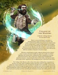 DnD 5e Homebrew — College of the Maestro Bard by Matthew Mercer