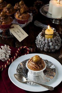 La cocina de Frabisa: Cupcakes de castañas y crema de chocolate de orujo. RECETA