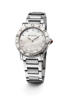 Bulgari Bulgari Ladies Steel watch with MOP dial and diamond indexes-automatic movement Bvlgari Diagono, Bvlgari Serpenti, Bvlgari Watches, Rolex Watches, Diamond Watches, Stylish Watches, Watches For Men, Bvlgari Gold, Frases