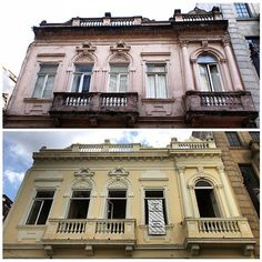 Then and Now - Historic building from the 19th century in Sao Paulo, Brazil,