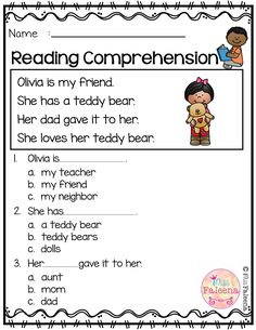 Comprehension Worksheets for Kindergarten Free Reading Prehension Reading Comprehension Worksheets, Reading Fluency, Reading Passages, Reading Skills, Comprehension Questions, Reading Strategies, Free Kindergarten Worksheets, Kindergarten Reading, Preschool Kindergarten