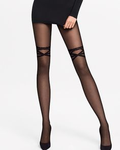 Wolford Katy Net Tights - Featuring the Trompe-l'œil technique, these tights feature a net effect up to the thigh, finished with a faux band with three rings. Wolford is the leader in hosiery, using the most cutting edge technology to create highly durable stockings and tights. Shop at www.fashion-tights.net #tights #pantyhose #hosiery #nylons #legs