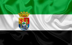 Download wallpapers Flag of Extremadura, autonomous community, province, Extremadura, Spain, silk flag, Extremadura coat of arms