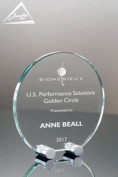 Glass Cycle With Round Polished Stands - Front View Glass Awards, Corporate Awards, Golden Circle, Plate Stands, Bracelets, Silver, Jewelry, Jewlery, Jewerly