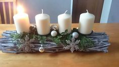 Rebengesteck, Adventsgesteck, Adventskranz, Weihnachten, Christmas Decorations, Table Decorations, Pillar Candles, Home Decor, Corona, Christmas, Decoration Home, Room Decor, Home Interior Design