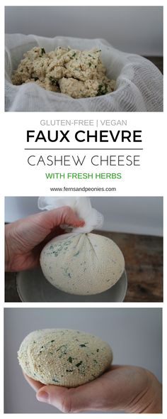 Faux Chevre Cashew Cheese with Fresh Herbs – Simple and delicious vegan cheese that is easy to make and sure to wow. Find this recipe and more at www.fernsandpeoni… Read Recipe by Fernsandpeonies Vegan Cheese Recipes, Dairy Free Recipes, Raw Food Recipes, Vegan Gluten Free, Cooking Recipes, Vegan Cashew Cheese, Mince Recipes, Vegan Butter, Cooking Tips