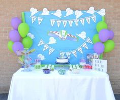 Fun dessert table at a Buzz Lightyear graduation   party! See more party ideas at CatchMyParty.com!