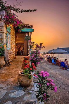 Taverna by the sea, Limeni, Mani, Greece partez en voyage maintenant Places Around The World, Travel Around The World, Around The Worlds, Places To Travel, Places To See, Travel Stuff, Wonderful Places, Beautiful Places, Romantic Places