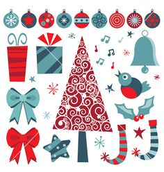 Christmas objects vector on VectorStock®