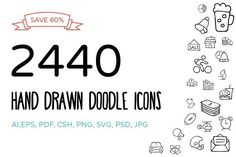 2440 Hand Drawn Doodle Icons Bundle - Icons - 1