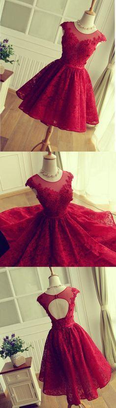 Vestidos De Fiesta Cortos,Red Lace Prom Dress,Short prom dress,modest Homecoming dress