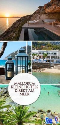 The most beautiful small hotels on the sea in Mallorca. The most beautiful beaches . - The most beautiful small hotels on the sea in Mallorca. The most beautiful beaches and vacation tip - Places In Europe, Europe Destinations, Europe Travel Tips, Spain Travel, Places To Go, Hotel Mallorca, Mallorca Beaches, Most Beautiful Beaches, Beautiful Places