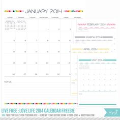 Live Free : Love Life 2014 Calendar UPDATE: Editable boxes version now available!!! Open with Adobe Acrobat and add your own text!  | MissTiina.com {Blog}