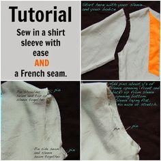 Need to practice this! How to sew in a shirt sleeve with ease AND a French seam.