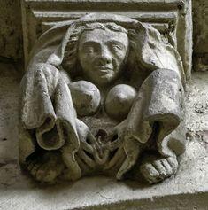 """""""Jean-Marie Sicard is an artist who photographs the bawdy gargoyles on medieval churches around Poitou-Charentes. Gothic Gargoyles, Art Pierre, Art Roman, Steinmetz, Ancient Goddesses, Poitou Charentes, Ancient Mysteries, Wow Art, Medieval Art"""