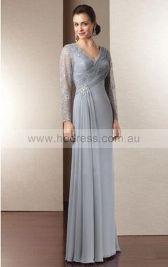 Long Sleeves Backless Chiffon V-neck A-line Formal Dresses gjea70351--Hodress