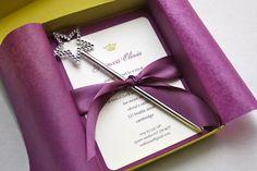 Purple Princess Crown Birthday Party Invitation - Box Mailer, Wand Favor, Satin Ribbon, Multi-Layered Invitation. $78.00, via Etsy.
