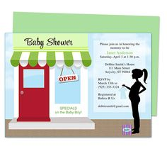 Cute little baby shower invitations: Storefront Baby Shower Invite Template, easy to edit with Word, Publisher, Apple iWork Pages, OpenOffice.