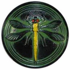 Black Glass Button with Green and Yellow Dragonfly