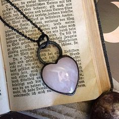 Artisan Rose Quartz Crystal Necklace Heart Pendant Healing Crystals Jewelry Pink Stone Charm * See this great product.