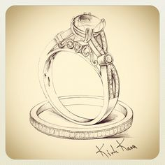 "Stunning Sketch of our new Engagement Ring form the ""XO"" Collection <3"