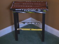 "Unique side table made from hockey sticks. Perfect for a sports room or ""man cave""… Boys Hockey Bedroom, Hockey Room, Baseball Room Decor, Hockey Decor, Hockey Stick Crafts, Hockey Sticks, Boy Room, Kids Room, Hockey Boards"