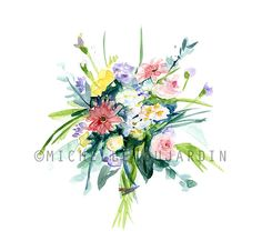 Boeket Aquarel  giclee print  bloemen schilderij door Zendrawing