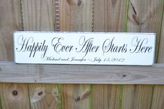 Wedding Sign Happily Ever After Starts Here by CSSDesign on Etsy, $32.00