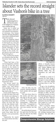 "The brilliant story of a boy's bike and the tree that grew around it.    ""When you're 97 years old nothing surprises you anymore,"" said the boy's mother with a smile.    http://4.bp.blogspot.com/-bi-DLACcLkk/TiTvNeagdCI/AAAAAAAAMwo/0UE2EAIxX6E/s1600/016.jpg"
