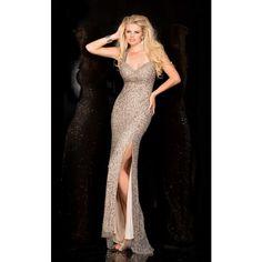 Scala 48579 Evening Dress Long V-Neck Sleeveless ($358) ❤ liked on Polyvore featuring dresses, formal dresses, platinum, v neck formal dress, long v neck dress, long sequin dress, sleeveless v neck dress and black v neck dress