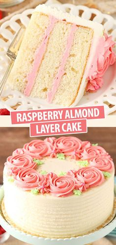 This Raspberry Almond Layer Cake has three layers of moist, fluffy almond cake filled with fresh raspberry frosting. It& such a pretty cake and it tastes even better than it looks! Cupcakes, Cupcake Cakes, Sweets Cake, Köstliche Desserts, Dessert Recipes, Cupcake Recipes, Raspberry Frosting, Layer Cake Recipes, Layer Cakes