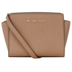 MICHAEL Michael Kors Mini Selma Messenger Bag (2.072.405 IDR) ❤ liked on Polyvore featuring bags, messenger bags, purses, handbags, michael michael kors, saffiano leather bag, beige bag, courier bag and messenger bag