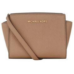 MICHAEL Michael Kors Mini Selma Messenger Bag (£155) ❤ liked on Polyvore featuring bags, messenger bags, michael michael kors, messenger bag, mini messenger bag, courier bag and beige bag