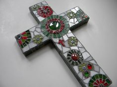 Christmas Mosaic Cross by TheMosartStudio on Etsy