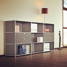 Infinita Side Board/Filing Credenza w/ 2 Large Double Drawers Modular Furniture, Home Office Furniture, Furniture Design, Office Cabinets, Grey Cabinets, Cube Unit, Office Seating, Shelving Systems, Storage Cabinets