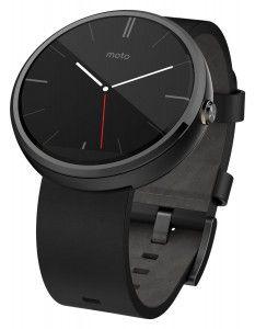 1. Motorola Moto 360 – Black Leather Smart Watches