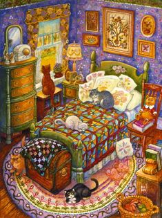 Many cats paintings. Bill Bell - Cats and Quilts.