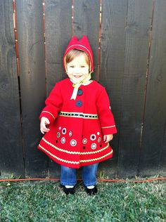 Size 12 months:  Big Bold Dots Little Red Riding Hood Children's Wool Coat. $100.00, via Etsy.
